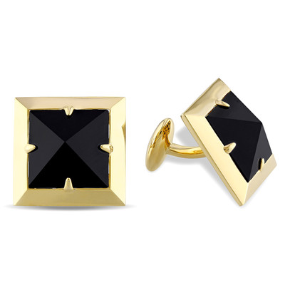 Black Onyx Pyramid Stud Cufflinks in 18k Yellow Gold Plated Sterling Silver