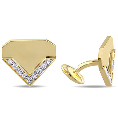White Sapphire Logomark Cufflinks in 18k Yellow Gold Plated Sterling Silver