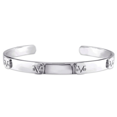 Raised Logo Bangle in Sterling Silver