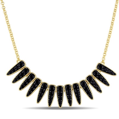 Black Sapphire Mystique Necklace in 18k Yellow Gold Plated Sterling Silver