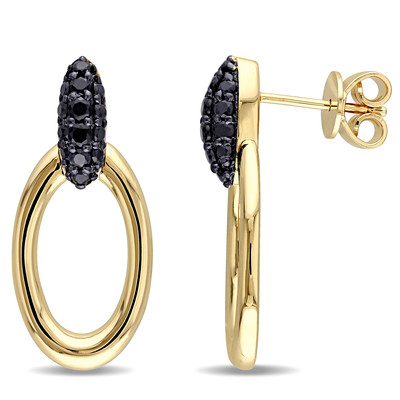 Black Sapphire Drop Hoop Earrings in 18k Yellow Gold Plated Sterling Silver