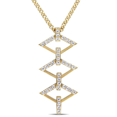 White Sapphire Logo Ladder Necklace in 18k Yellow Gold Plated Sterling Silver