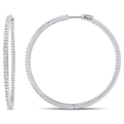 White Sapphire Hoop Earrings in Sterling Silver