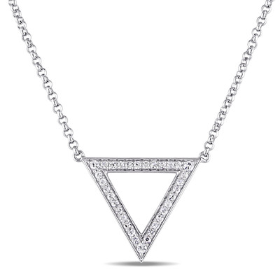 White Sapphire Geometric Necklace in Sterling Silver