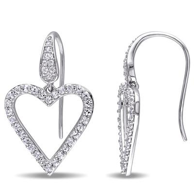White Sapphire Heart Earrings in Sterling Silver