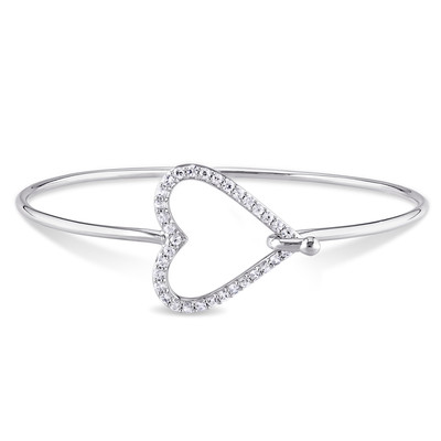 White Sapphire Heart Bangle in Sterling Silver