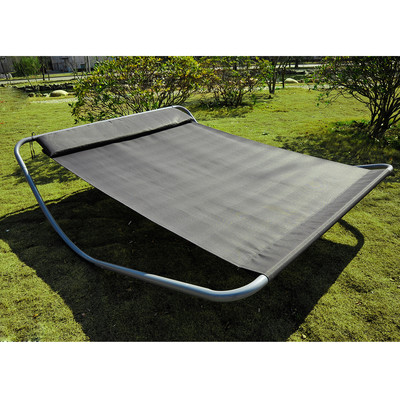 Rocking Double Sun Lounger Hammock Bed with Steel Stand Headrest Grey