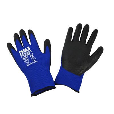 Dukwon Glove 3345U3 Oil Resistance Gloves, Black Nitrile Flat Palm, Royal Blue/Black, 6/Pack