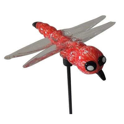 Garden Stake - Glass Blown Red Dragonfly