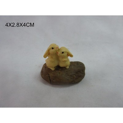Fairy Garden - Two Rabbits On Stone