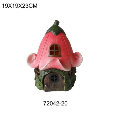 Fairy Garden - House with Pink Lily Flower Roof