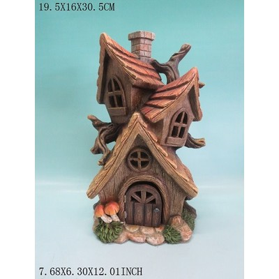 Fairy Garden - Tri-House with Chimney