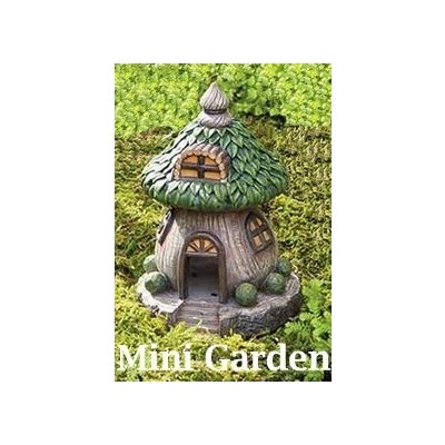Fairy Garden - Brown House with Green Leaf Roof