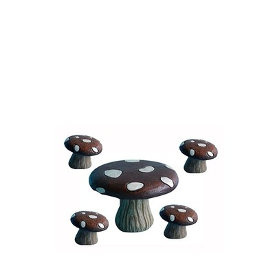 Fairy Garden - Mushroom Table with 4 Chairs