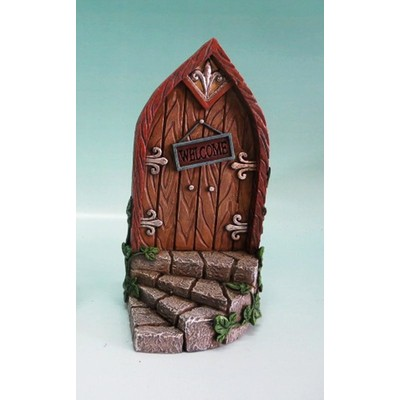 Fairy Garden - Mini Garden Brown Door with Welcome Sign