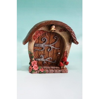 Fairy Garden - Mini Garden Brown Door with Bell And Scroll