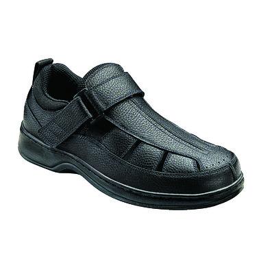 Orthopedic Footwear - Ortho Feet Men's Hook and Loop Melbourne Black Medium Width Ref 571M