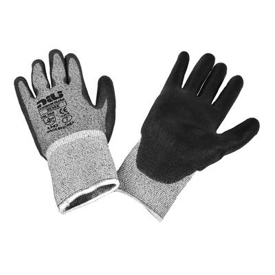 Dukwon Glove 5535K Cut Resistance Gloves, Black Polyurethane Palm, Salt Pepper/Black, 6/Pack