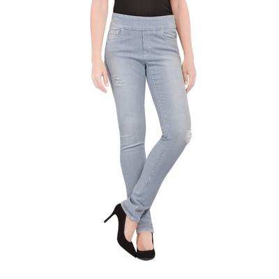 Bluberry Women's Stripe White wash Slim Leg Denim