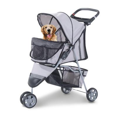 3 Wheel Folding Pet Stroller Cat Dog Jogger Carrier Strolling Travel Walk Grey and Silver