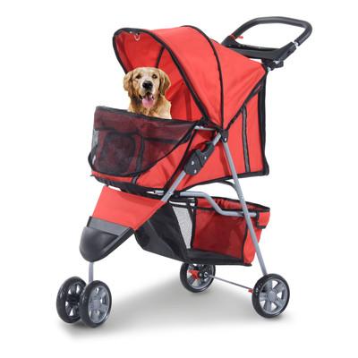 3 Wheel Pet Stroller Folding Cat Dog Jogger Carrier Strolling Travel Red