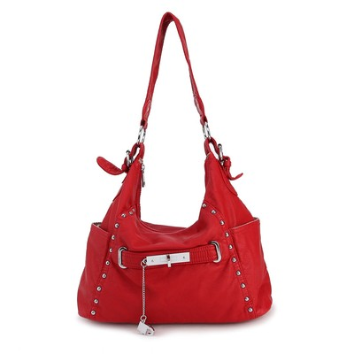 Luxanne Soft Bling Red Washed Faux Leather Hobo Bag