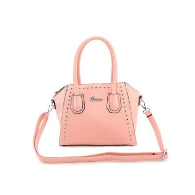 Luxanne Spring Youth Bright Color Pink Medium Sized Structure Satchel Bag