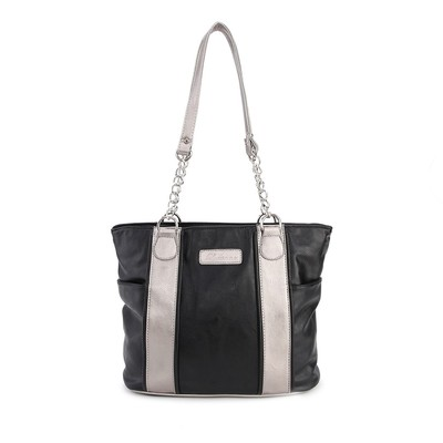 Luxanne Spring Summer Double Strap Black Tote Bag