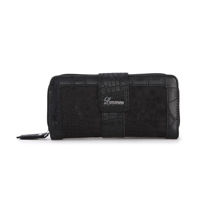 Luxanne Double Framed Canvas Black Medium Wallet