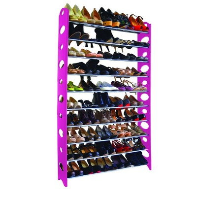 50-Pair Shoe Rack - Pink