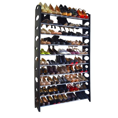 50-Pair Shoe Rack - Black