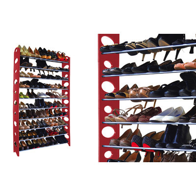 50-Pair Shoe Rack - Red