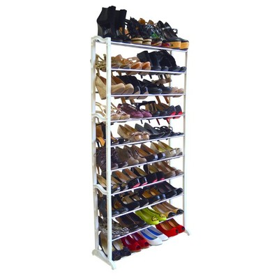 40 Pair Shoe Rack - White