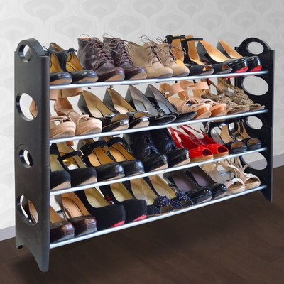 20-Pair Shoe Rack - Black