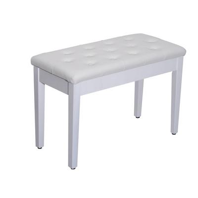 Padded Storage Piano Bench White