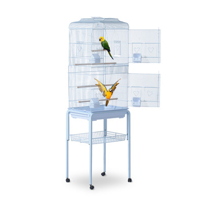 """3"""" Bird Cage Macaw Cockatoo House Parrot Play Top Finch Pet Supply with Wheels White"""
