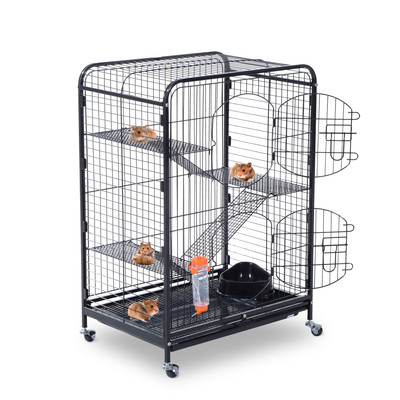 "37"" Pet Cage Rabbit Cat House Playpen 2 Doors Tray Animal Supply Kit Metal Black"