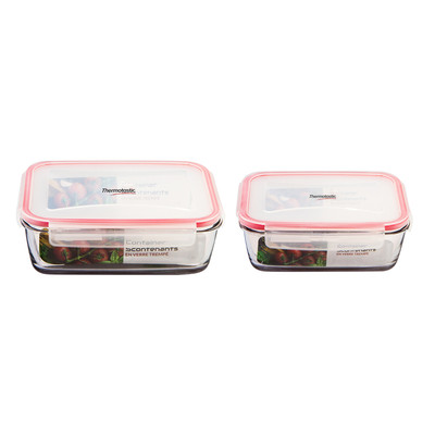 Thermotastic SHATTERPROOF Tempered Glass Food Storage Containers 2pc Set (1175, 1860ml)