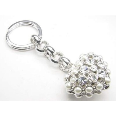 Pearl Heart Shaped Key Fob
