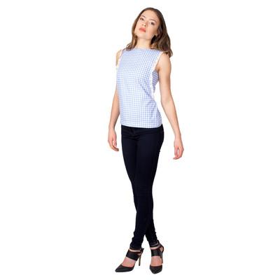 Tetiana K Women's Gingham Blouse, Light Blue