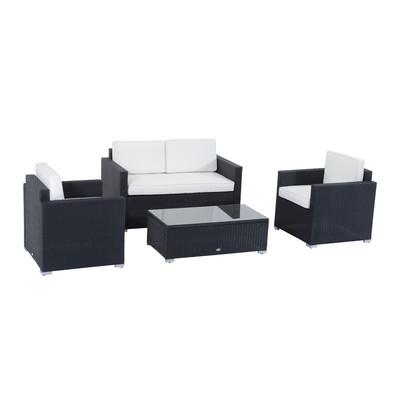 Outsunny 4pcs Rattan Wicker Sofa Set Patio PE Outdoor Furniture Garden with Cushion