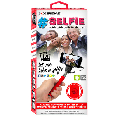Selfie Stick with built in shutter button - Red (8-05106-51914-8)