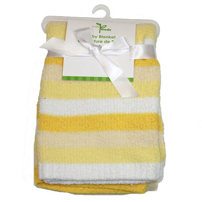 Striped Chenille Blanket - Yellow