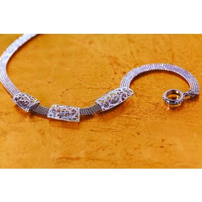 "Flora ""3 silver piece"" ribbon chain necklace"