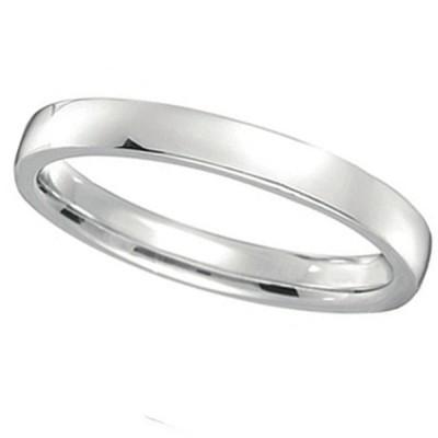 2mm Wedding Ring Plain Band Comfort Fit Palladium Women