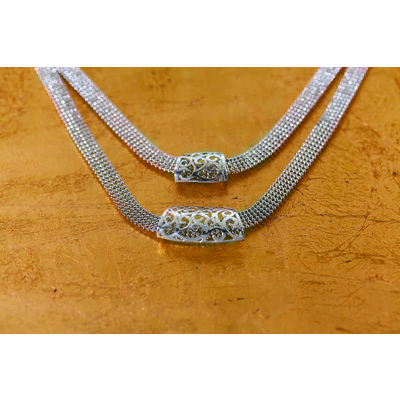 "Flora ""2 silver piece"" ribbon chain necklace"