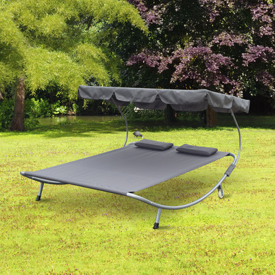 """79"""" Double Hammock Bed Chaise Lounge Relaxing w/ Metal Support Headrests Awning Top"""