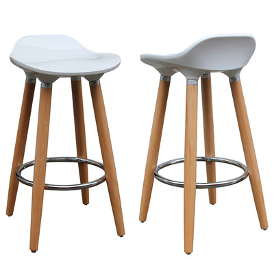 """SET OF 2 WHITE  MOULDED ABS 26"""" COUNTER STOOL"""