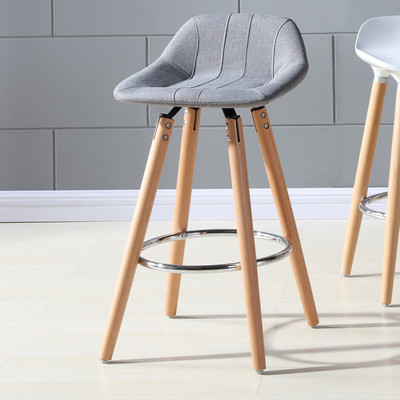 """SET OF 2 26"""" COUNTER STOOL WITH GREY FABRIC LOWBACK SEAT"""
