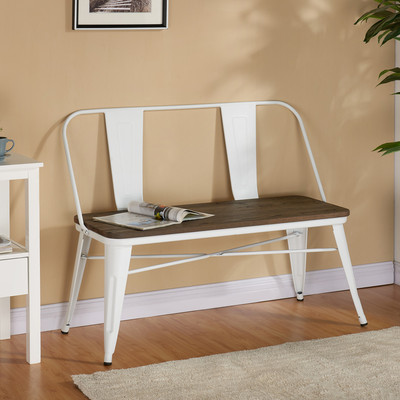 Industrial Style Double Bench, White